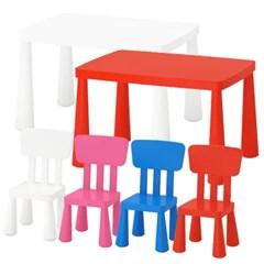 이케아 MAMMUT 어린이테이블(사각)+의자2개 세트