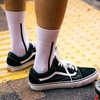 UNISEX Side Line Socks aaa052u(White / Black)