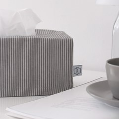 Denim stripe tissue case _ Gray