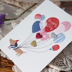 풍선 강아지 카드 FT1034-5