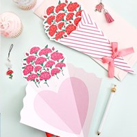 블루밍 카네이션 꽃다발 카드