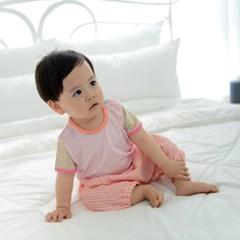 [풍기인견 다이마루] 반팔 셔츠 민트캔디, 핑크캔디