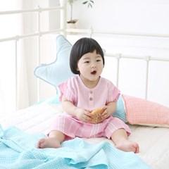 [풍기인견 평직]파스텔 핑크 스트라이프 셔츠 & 팬츠