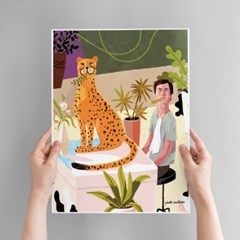 Man With Cheetah Art poster