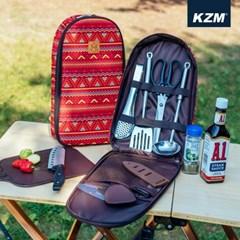 카즈미 키친툴세트 레드 K5T3K008 / 캠핑용품 캠핑 칼 도마 세트