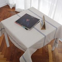 클래식 네이비 라인 리넨 테이블 커버