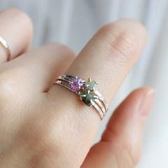 천연 에메랄드 실버 반지(5월탄생석)raw emerald silver ring