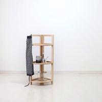 [벤트리] 원목 접이식 코너 선반