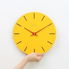 [각인 주문제작]옐로우 무소음 모던 벽시계 라인