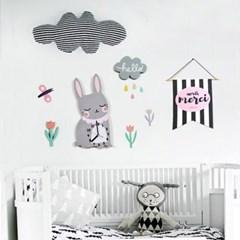 북유럽 캐릭터 벽시계(토끼) + 오너먼트,시트지set (무소음)