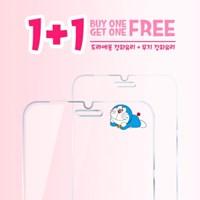[1+1]도라에몽 정품 강화유리필름_블루윙크 강화유리+무지 강화유리