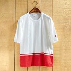 Hem print T-shirts _ white/red
