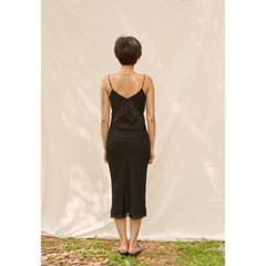 [closingment] viscose rayon slip dress - black