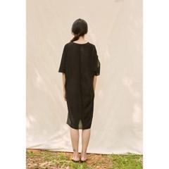 [closingment] viscose rayon v-neck dress - black