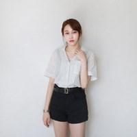Linen v-neck stripe shirts