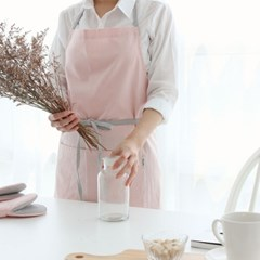 [쓰임] 린넨배색 핑크 앞치마