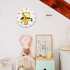 북유럽 감성 원형 무소음벽시계 (노랑부엉이)
