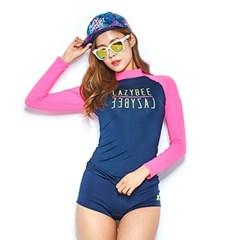 1103 여성 래쉬가드 - Navy/H.Pink