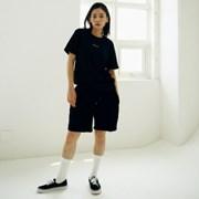 [매스노운] Unisex Sweat Short Pants  FRAYED  MUSSP003-BK