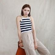 Stripe halter neck sleeveless