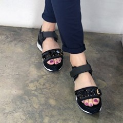 Black cutting beads platform strap sandals_KM16s366