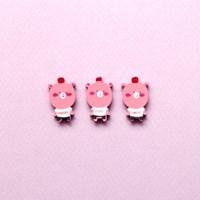 핑크 곰돌이 나무 비즈 5p