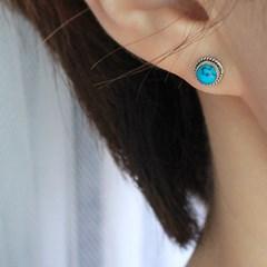 써클 조이 터키석 귀걸이(12월탄생석)circle joy turquoise earring