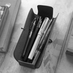 천연가죽 Pencil Case_Cross Folding Deluxe [Ash Gray]