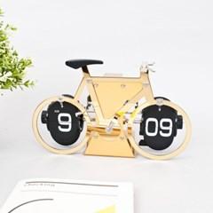 골드 아날로그 자전거 플립시계