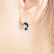 CELLA Cell Silver Hexagon Earrings