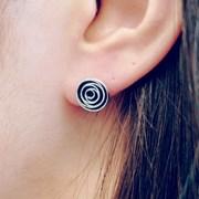 FLOS Flower Silver & Black Earrings 03