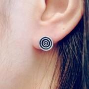 FLOS Flower Silver & Black Earrings 02