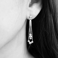 [92.5 silver]Silver Ball Ball Drop Earring