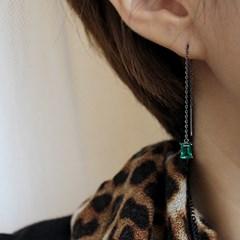 스퀘어 에멜 쿼츠 체인 귀걸이 square green quartz chain earring
