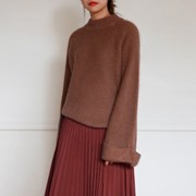 Wide sleeve angora wool knit