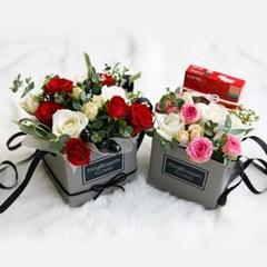 [체크스토리x밍블러썸]막대과자꽃바구니 플라워박스 꽃상자 생화박스