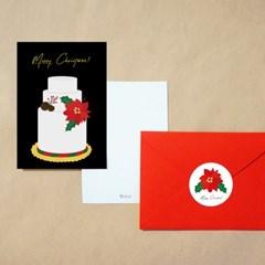 크리스마스 케이크 일러스트 엽서+봉투