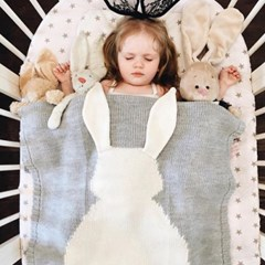 토끼뒷태 니트짜임 순면 담요