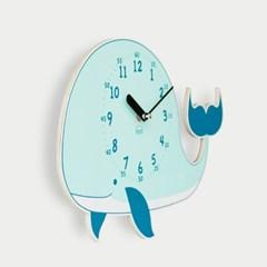 [BEZIT] 꿈의 고래 무소음 벽시계(블루)