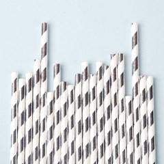 종이빨대 Metal Stripe Silver (20p)