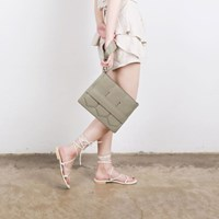 Modern fringe clutch bag _Khaki (cow leather)