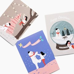 눈사람엽서 카드 3종