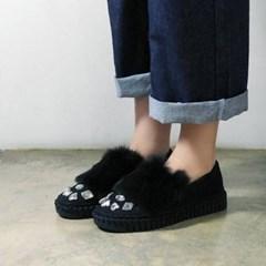 Clear beads stitch fur loafers_KM16w260
