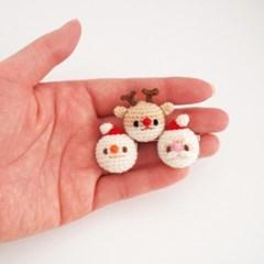 손뜨개 산타 눈사람 루돌프 크리스마스 브로치, 뱃지