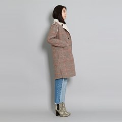 [무스탕] Houndstooth Shearling Coat
