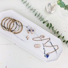 대리석 무늬 도자기 팔각 보석 트레이