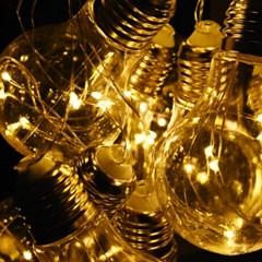 LED 100P 와이어 건전지(밧데리) 에디슨전구(10구)-3color