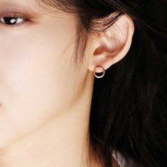 round stud earring_silver/gold