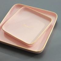 [쓰임] 소울 핑크 사각접시(중)