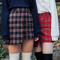 Unbal Tartan Check Skirt Pants (2colors)